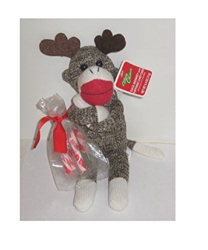 Christmas Holiday Reindeer / Antlers Sock Monkey with Candy Cane by -