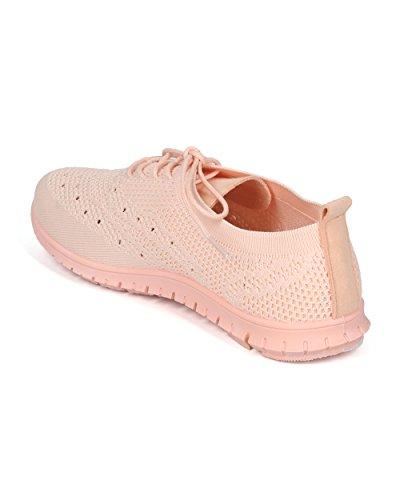 Alrisco Damesstof Gebreide Veter Oxford Sneaker - Hh09 Door Qupid Collection Roze