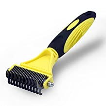 Bigear Pet Dematting Comb,Grooming Brush Tool for Dogs and Cats,2 Sided Steel Rake Brush for Small Medium and Large Breeds with Medium and Long Hair,Removes Undercoat Mats Tangles