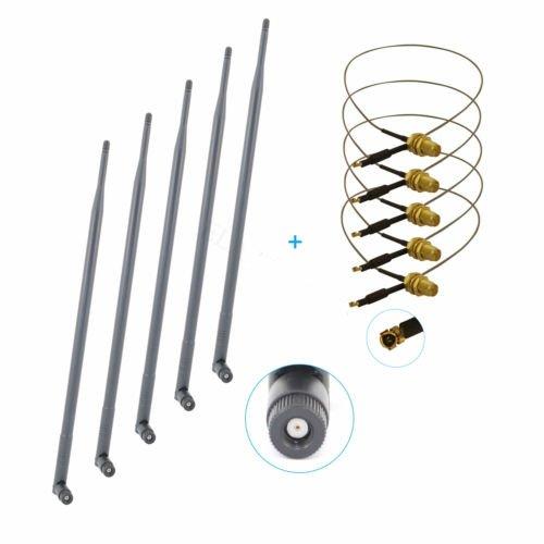 5 pcs 9dBi Wifi Antenna Mod Kit U.fl for Netgear N750 WNDR43