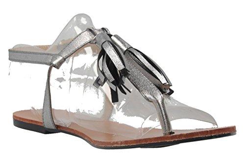 ANDRES MACHADO - Damen Zehentrenner - Silber Schuhe in Übergrößen