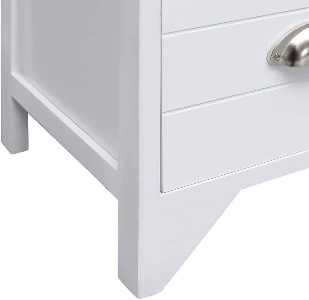 vidaXL Paulownia Holz Beistellschrank Weiß Kommode Anrichte Sideboard Schrank