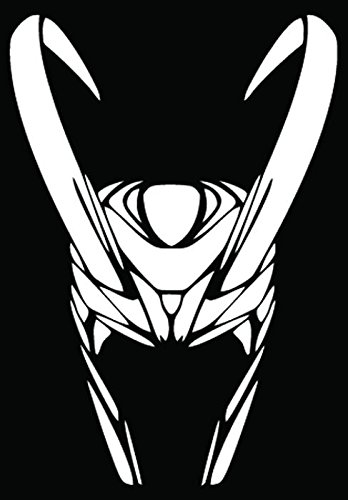 Loki Helmet Car Truck Window Bumper Vinyl Graphic Decal Sticker- (6 inch) / (15 cm) Tall GLOSS WHITE Color