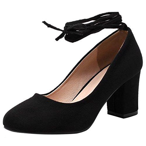 AIYOUMEI Damen Geschlossen Wildleder Blockabsatz Pumps mit Schnürsenkel und 7cm Absatz Bequem Herbst Schuhe Schwarz