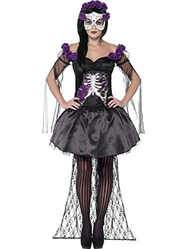 Adult Sexy Day of The Dead Senorita Spanish Skeleton Bone Costume -