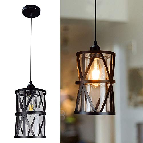DLLT Industrial Pendant Light, Metal Hanging Ceiling Lights Fixture with Clear Glass Shade, Flush-Mount Swag Lighting…