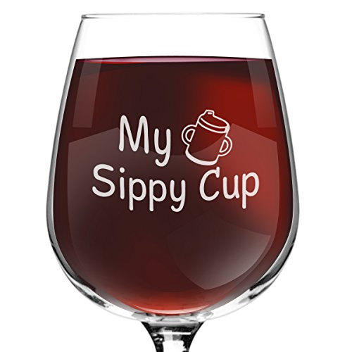My Sippy Cup Funny Novelty Wine Glass- 12.75 oz. - Gift for Mom, Women, Friends or Her - Made in USA
