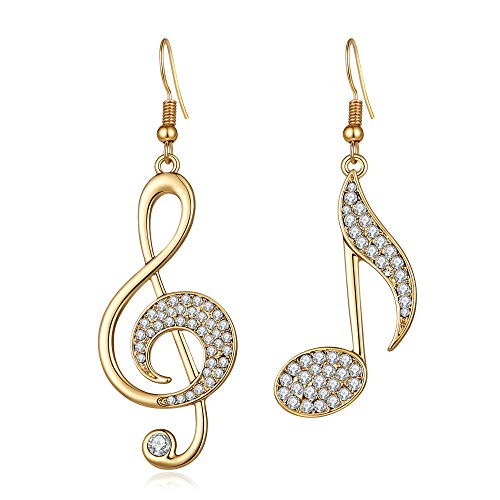 BIRSTONE Treble Eighth Music Clef Note Fish Hook Dangle Earrings,Gold