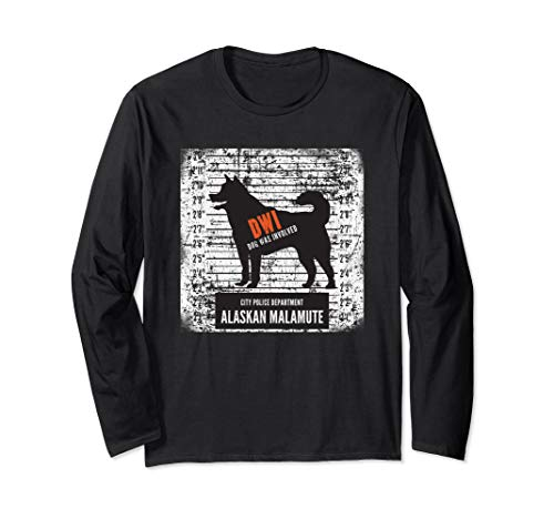 Alaskan Malamute Dog Mugshot Long Sleeve Shirt