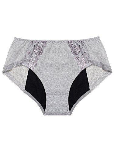 Intimate Portal Women Teens Menstrual Period Panties Leak Proof Incontinence Underwear Gray 5XL