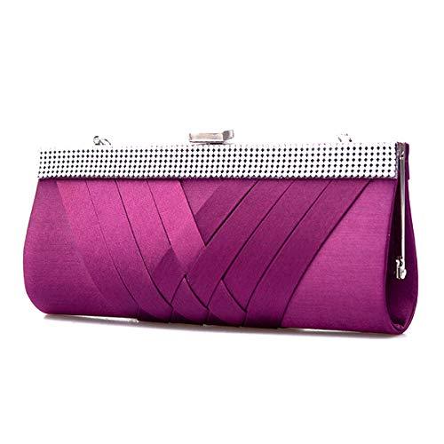 Purple Crystal Purse - HOZMLIFE Luxury Satin Evening Bag Clutch Women Rhinestone Evening Bag Party Purse Wedding Handbag Shoulder with Chain Strap (purple)