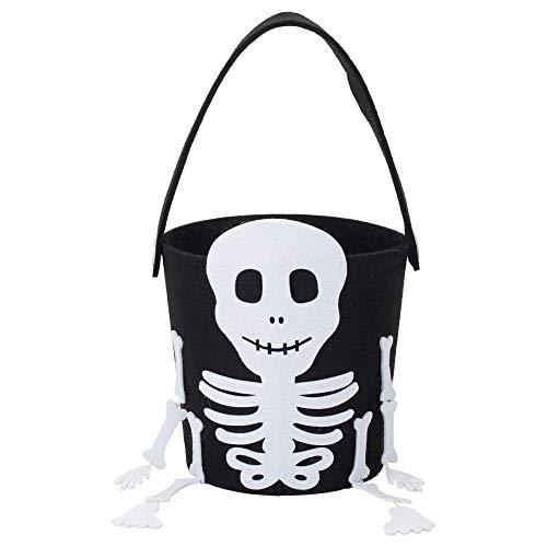 Skeleton Black White 7 x 7 Inch Polyester Felt Halloween Candy Bucket Bag