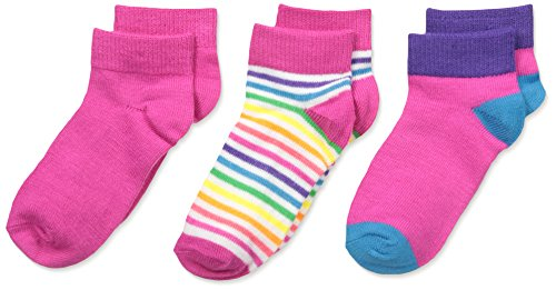 Fruit of the Loom Girls' Toddler Baby 3 Pack Rainbow Stripe Ankle Socks, Assorted, Shoe Size: 7.5-11 (3-5 Years) Cut Asst Top Tab