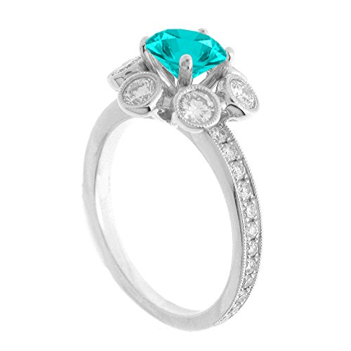 (14K White Gold 7/8ct TDW Floral Diamond Engagement Ring With 3/4ct Aquamarine Round Center (G, SI1-VS2))