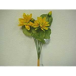 """3 Bushes Water Lily Artificial Silk Flowers 12"""" Bouquet 1004P (Yellow) 75"""