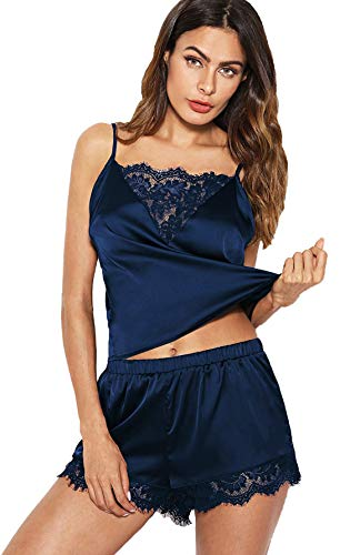 - DIDK Women's Lace Trim Satin Cami and Shorts Pajama Set Blue S