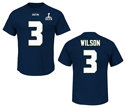(Majestic Athletic Russell Wilson Seattle Seahawks Super Bowl Eligible Receiver Navy Jersey Name and Number T-Shirt Medium)