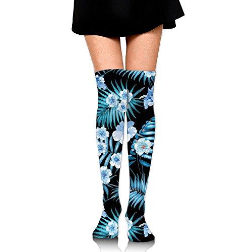 Comfortable Blue Flowers Knee High Socks,Unisex Stocking For Men And Women - Fasion Fair