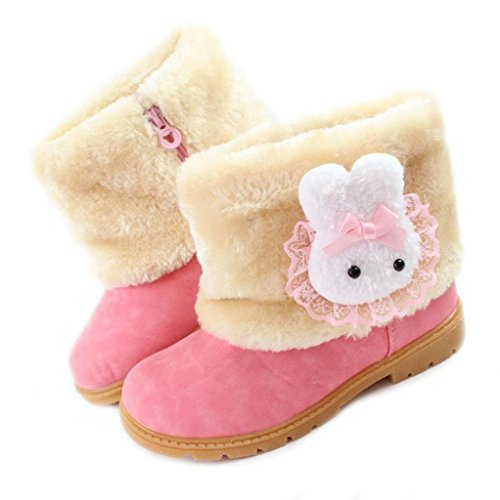 Femizee Baby Girls Infant Toddler Winter Fur Shoes Rabbit Snow Boots Booties,Pink,1013 CN30