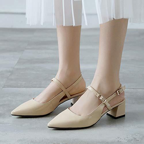 Pointues Quatre De Talon pour Étudiants Cuir Chaussures Laque Sandales Chaussures Cm Baotou Couleur Moyen des 5 La Femmes Nu des D'Été KPHY Bovins Mode Trente wqRCvxII
