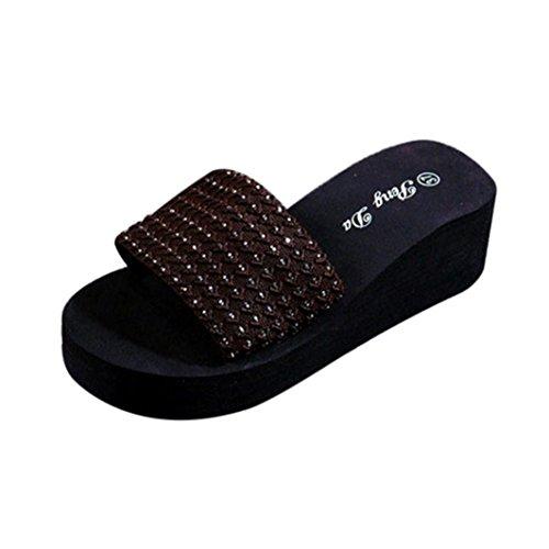 Vovotrade Femmes Chaussures D'été Sandales Pantoufle En Forme De Crochet Intérieur Et Extérieur Tongs Marron