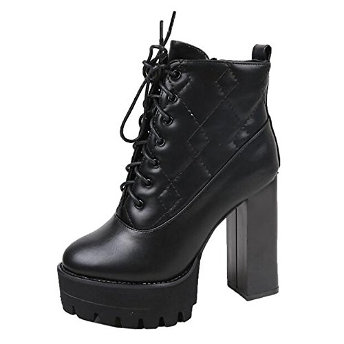 Shoes Spring Chunky Black Bootie ZHZNVX for Boots HSXZ Fall Comfort Black Women's Booties Casual Boots Heel Ankle PU zIxSfSwEq