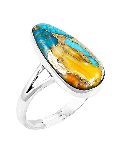 Spiny Oyster Turquoise Ring Sterling Silver Size 5 to 12 (Pick Style) (Smooth Triangle, - Oyster Ring