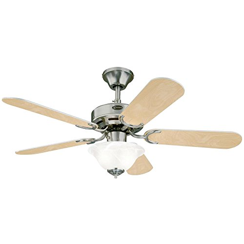 Westinghouse 7877365 Richboro SE Two-Light 42-Inch Reversible Five-Blade Indoor Ceiling Fan, Brushed Nickel with Frosted White Alabaster Glass Bowl by Westinghouse (Image #4)