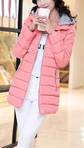 Laterali Con Cappuccio Lunga Cerniera Donna Giovane Trench Manica Outwear Monocromo Invernali Rosa Piumino Calda Giacca Moda Grazioso Tasche UxqY8Hw