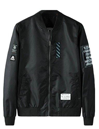(Yayu Men's Patches Air Force Flight Jacket Reversible Letter Varsity Bombers Jacket Black XL)