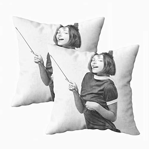 Capsceoll Throw Pillow Covers, 2PCS Halloween Woman Girl
