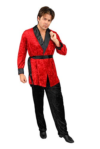 Hugh Hefner Halloween (Charades Men's Smoking Jacket, red,)