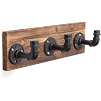 MyGift Wall-Mounted Industrial-Style Wood & Pipe Fixture 3-Hook Coat Rack