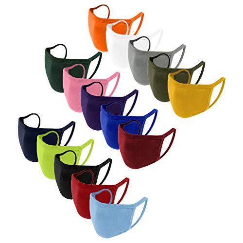 15PCS Reusable Dustproof Bandana Cotton,Scarf Face Cotton Neck Gaiter,Multi-Purpose Face Covering for Workout Yoga Running