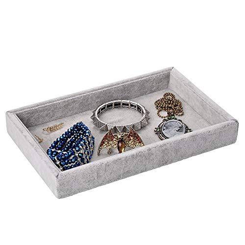 Yerwal Jewelry Tray, Velvet Jewelry Tray Showcase Display Organizer for Ring Earring Necklace Pendants Bracelet (Grey)