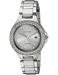 Citizen Womens Eco-Drive Quartz Stainless Steel Casual Watch, Color Silver-Toned (Model: FE1160-54A)