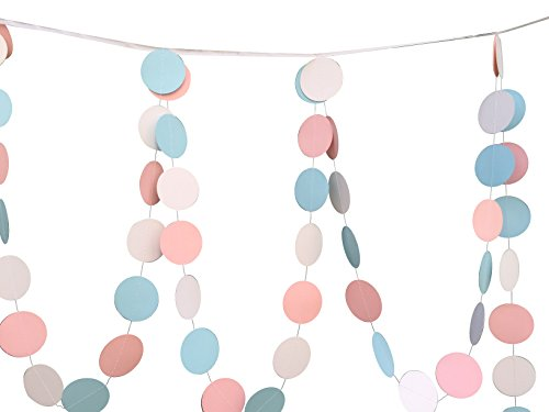 Paper-Circle-Dots-Hanging-Decoration-String-Paper-Garland-10-Feet-Long-Wedding-Birthday-Party-Baby-Shower-Background-Decorative-410feets-White-Pink-Blue