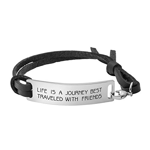 Yiyang Friendship Gifts Inspirational Leather Bracelet for Friends Life is A Journey Best Traveled with Friends]()