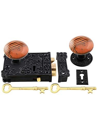 House of Antique Hardware R-01HH-C1032-SBN-MB - Cast Iron Century Rim Lock Set with Brown Swirl Porcelain Knobs in Matte Black