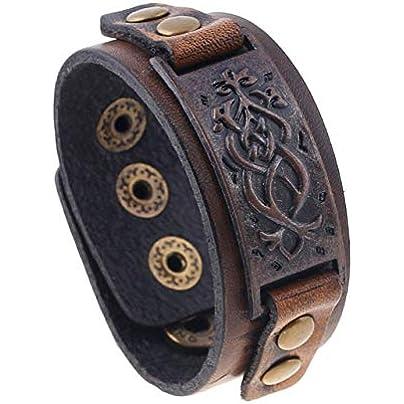 ZUOZUO Leather Wristband 22Cm Retro Leather Bracelet Brown Bracelet Men S Jewelry Accessories Alloy Buckle Adjustable Punk Charm Unisex Estimated Price £17.99 -
