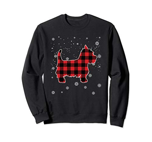 (Red Plaid Westie Funny Christmas T-Shirt gift for men women)