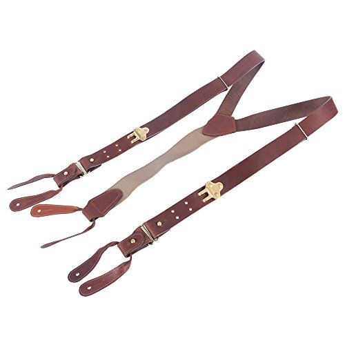 Leather Suspenders Braces Adjustable Design Brown Brass Button on No. 1 USA Made by Col. Littleton