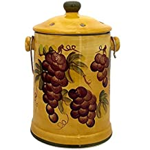 Tuscany Grape Wine Home Decor Hand Painted Ceramic Compost Jar, 82594 By ACK