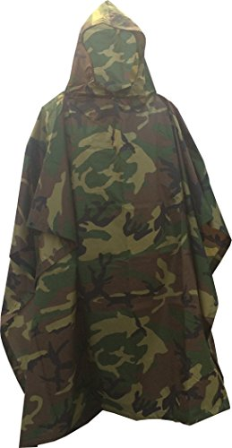 Fire Force Military Style Ripstop Nylon Poncho Size: 55 x 90 Made in U.S.A. Ripstop Rain Poncho (Woodland Camo)
