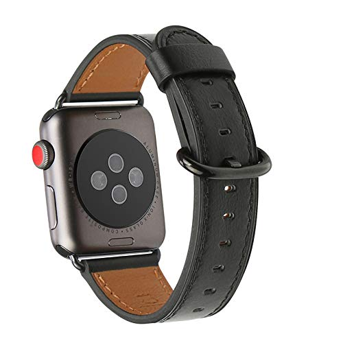 WFEAGL Compatible iWatch Band 38mm 40mm, Top Grain Leather Band for iWatch Series 4,Series 3,Series 2,Series 1,Sport, Edition (38mm 40mm,Black Band+Black Adapter)
