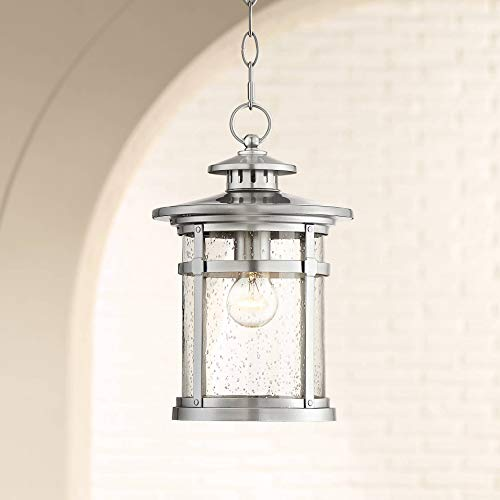 Callaway Industrial Outdoor Lighting Hanging Lantern Chrome 13 1/2