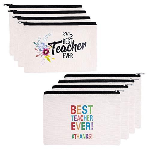 Teacher Gifts, 8 Pieces Makeup Pouch Cosmetic Bag Travel Toiletry Case Pencil Bag with Zipper for Teacher Appreciation Gift Bulk, Best Teacher Ever