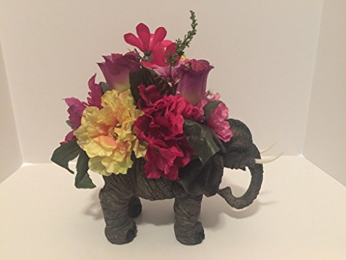 Vases Hindu - ANIMAL FUN - ELEPHANT VASE - PINK, YELLOW, WHITE, GREEN, PURPLE MIXED FLORAL