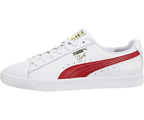 PUMA Select Men's Clyde Sneakers, White/Cherry/Gold, 12 D(M) US