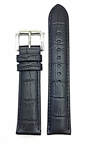 20mm Black Genuine Leather Watch Band | Square Alligator Crocodile Grain, Lightly Padded Replacement Wrist Strap that brings New Life to Any Watch (Mens Standard Length)